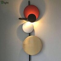 Европейский дизайнер окрашены красочные круглый металлический круг светодио дный настенный светильник D32 H98cm DIY Планета светодио дный бра ф