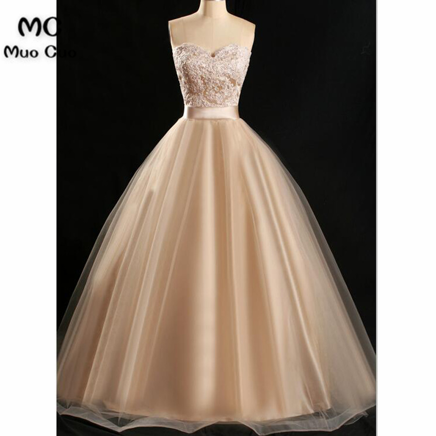 2018 Vintage Ball Gown Champagne Evening Dresses Long Vestido de ...