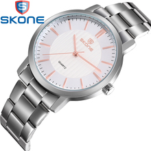 SKONE Japanese Movement  Women's Watches Lover's Business Stainless Steel Watchband Quartz Watch for Men Wristwatches HE7313