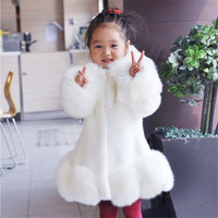 New 2016 Baby Girls Long Sleeve Winter Wedding Faux Fur Brand Fur Coat For Girls Formal