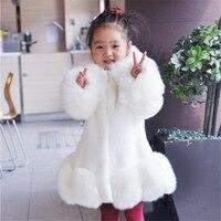 New 2016 Baby Girls Long Sleeve Winter Wedding Faux Fur Brand Fur Coat For Girls Formal