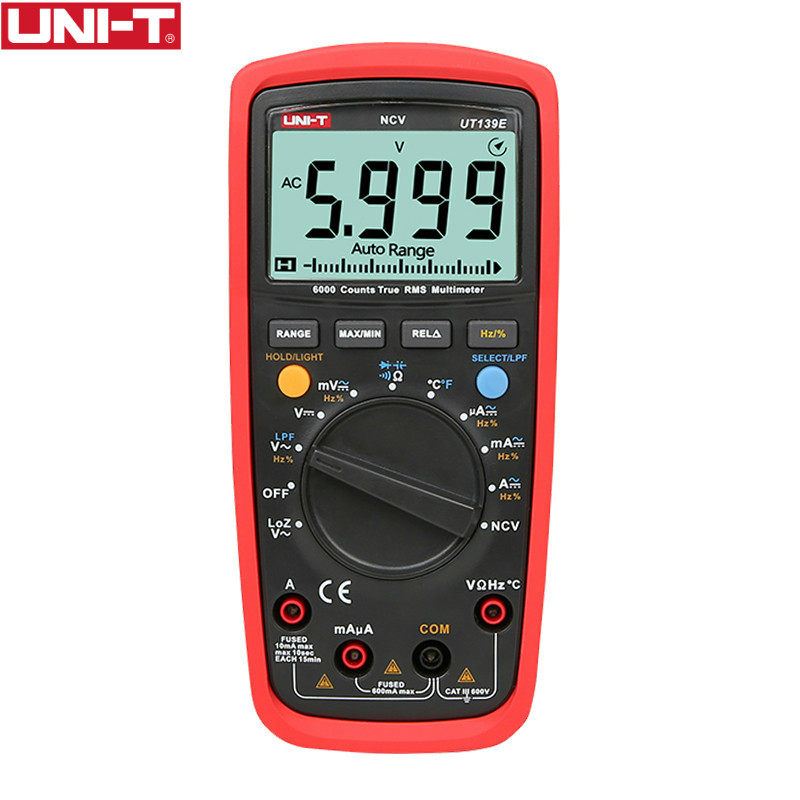 UT139E True RMS Digital Multimeter Temperature Probe LPF pass filter LoZ LoZ (low impedance input) function/Temperature test EB title=