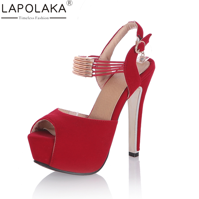 LAPOLAKA 2018 large size 33-42 Women Sandals super high heels buckle strap Shoes Woman peep toe platform Party Wedding Sandals lapolaka 2018 high quality large size 33 48 slip on thin high heels peep toe shoes woman platform party wedding pump