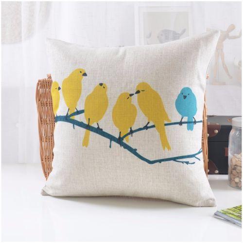 Completely new Geometric Decorative Pillows Case Bird Zig zag Yellow Blue Cushion  JQ06