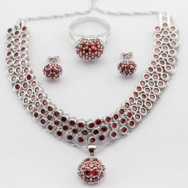 Round Imitated Red Garnet CZ Silver Color Women Jewelry Sets Necklace Pendant Stud Earrings Rings Bracelet Merry Christmas Gift