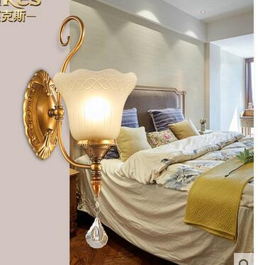 bedroom lamp wall iron 2PCS American country style dining room aisle porch corridor simple single head Wall Lamps garden single head headlight hotel dining room club art glass decorative corridor wall lamp european bird beauty wall lamp