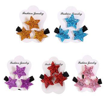 3PCS Children Headwear Acrylic Glitter Star Elastic Hair Band Safety Hair Clips Colorful Cute Girls Gift Kids Hair Accessories Girls Hair Accessories