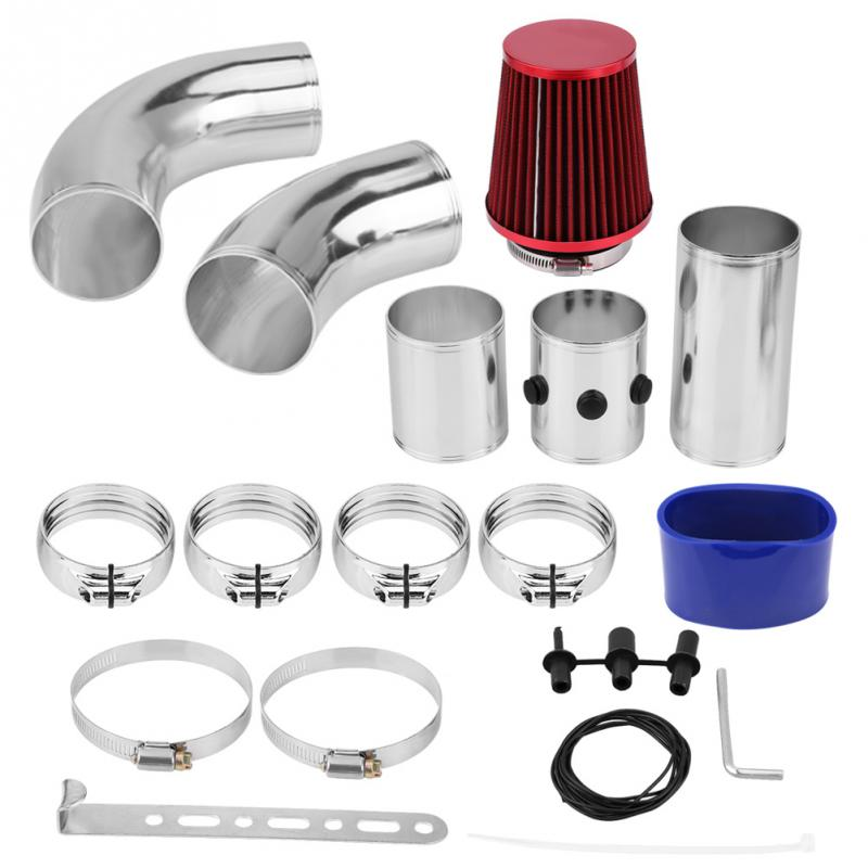 76mm 3inch Aluminium Universal Car Cold Air Injection Intake Filter System Hose Pipe Tube Kit