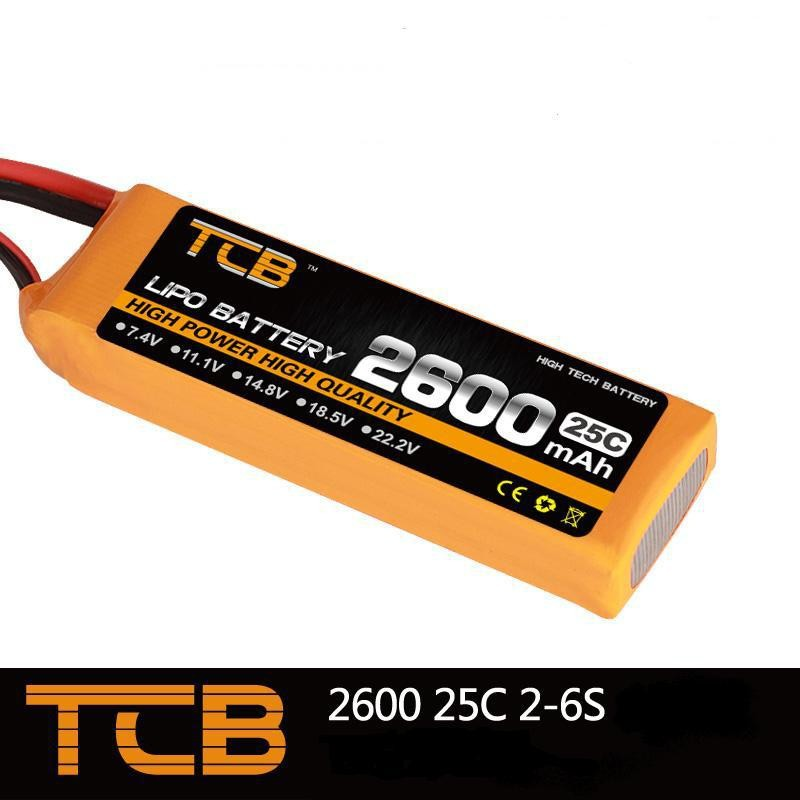 TCB RC Drone lipo battery 7.4v 2600mAh 25C 2s for rc airplane boat car free shipping mos 2s rc lipo battery 7 4v 2600mah 40c max 80c for rc airplane drone car batteria lithium akku free shipping