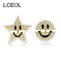 LCEOL Newest Design Moon&Star Smiling Face CZ Diamante&Pearl Stud Earring, Young Girl Jewellery Gold&Silver Color Earrings