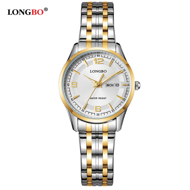 LONGBO Luxury Lovers Couple Watches Men Date Day Waterproof Women Gold Stainless Steel Quartz Wristwatch Montre Homme 80145