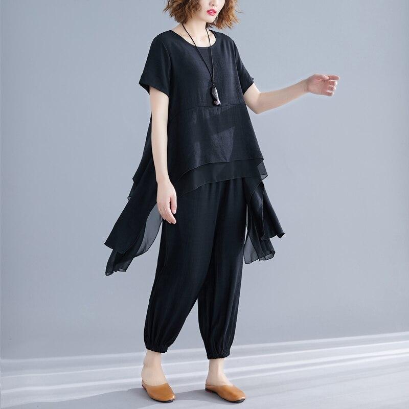 #0807 Summer Asymmetrical Long Blouse Short Sleeve Harem Pants Cotton Linen Casual Vintage Sets Two Pieces Woman Plus Size Tide