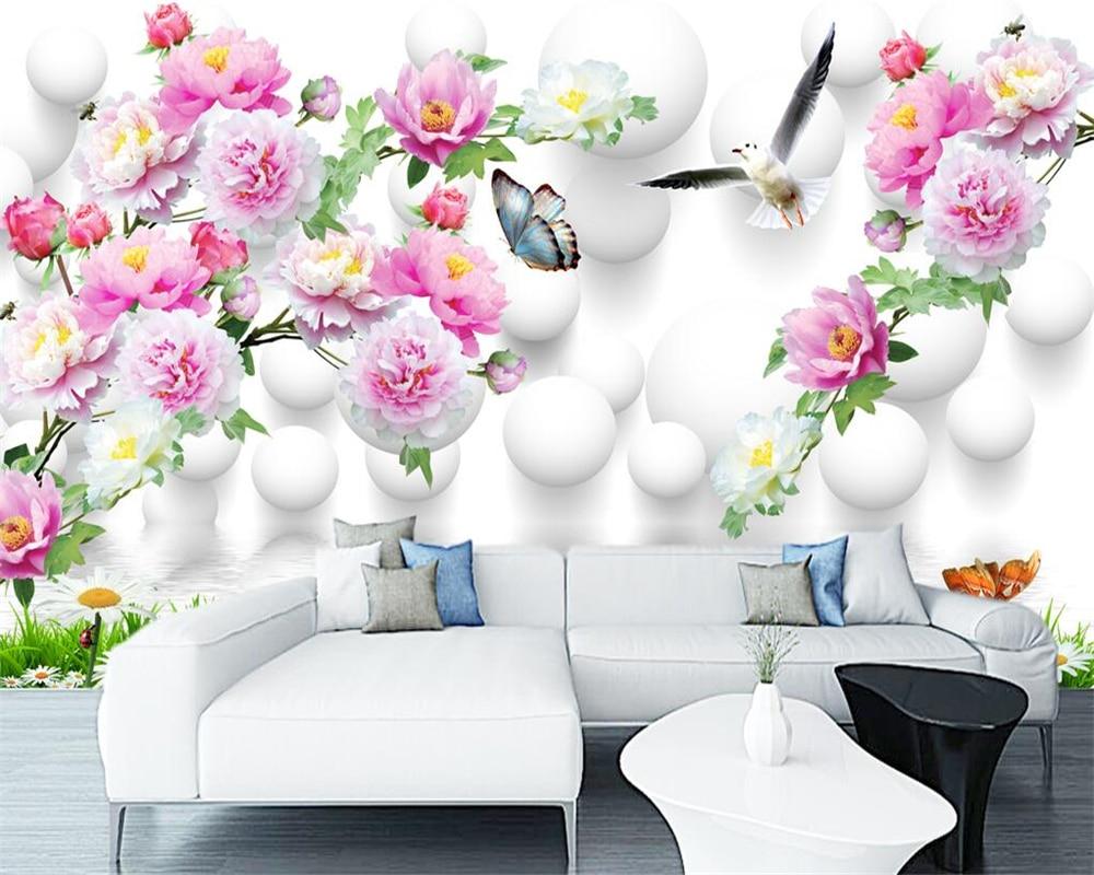 bb7f83d8b23 Beibehang fondos personalizados inicio Mural decorativo flor congelado  Peony 3D decorativo TV sofá Fondo pared mural 3d papel pintado en Fondos de  pantalla ...