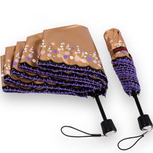 Купить с кэшбэком Anti-thunder windproof 5 times black coating anti-UV embroidery lacing parasol folding digital 3D printing rungra silk umbrella