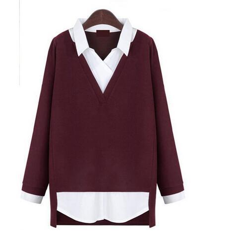 Shirt do remendo de 2016 nova marca de roupas de outono e inverno as mulheres blusas casuais solta com decote em v camisas de manga completos TopsXL-5XL