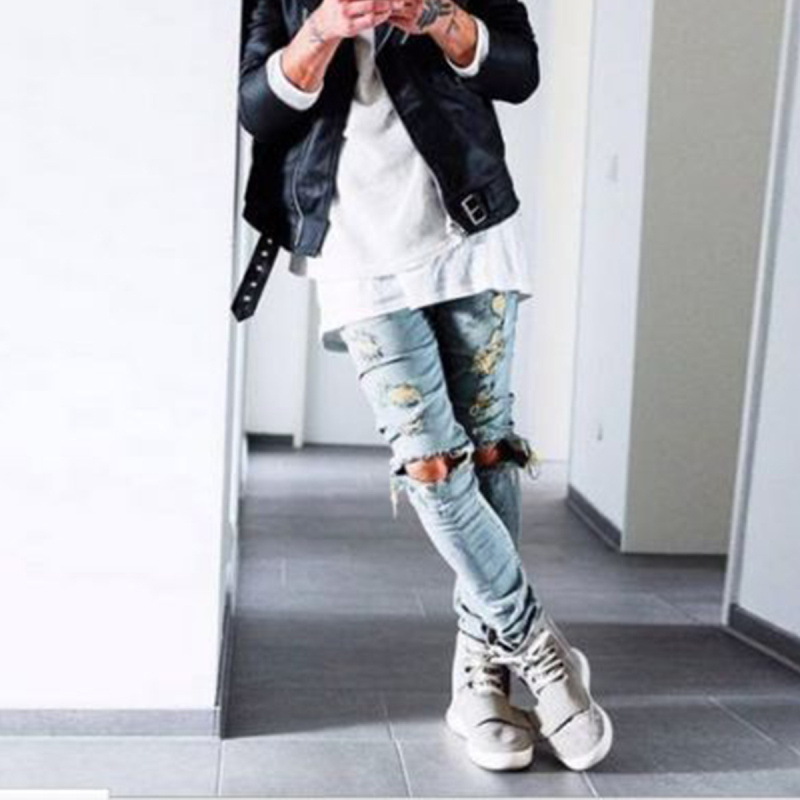 Mens Stylish Ripped Rider Biker Jeans Motorcycle Slim Fit Black/Blue Denim Skinny Straight Trousers Hip Hop Streetwear cp1w ext01 new and original omron plc communication adapter