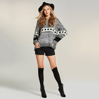 Sisjuly 2018 New Autumn Gray Loose Sweater Geometric Print Patchwork Color Block O Neck Pullover Women