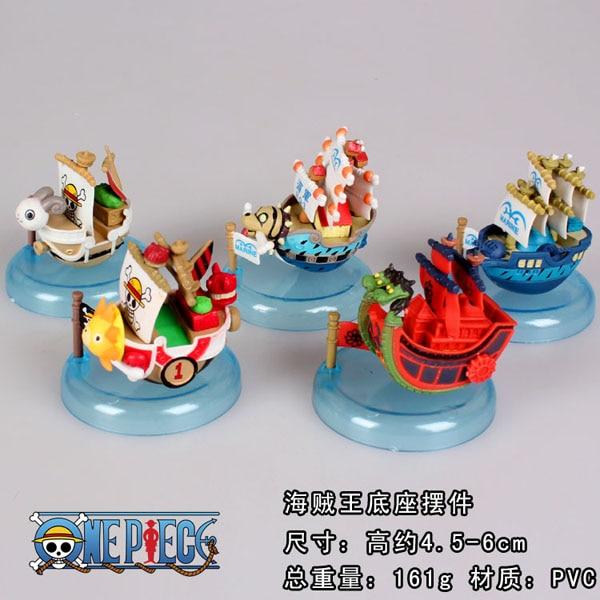 5pcs/set Anime One Piece Ship Model Mini PVC Action Figures Collectible Model Toys OPFG438 one set 4 pcs 95mm