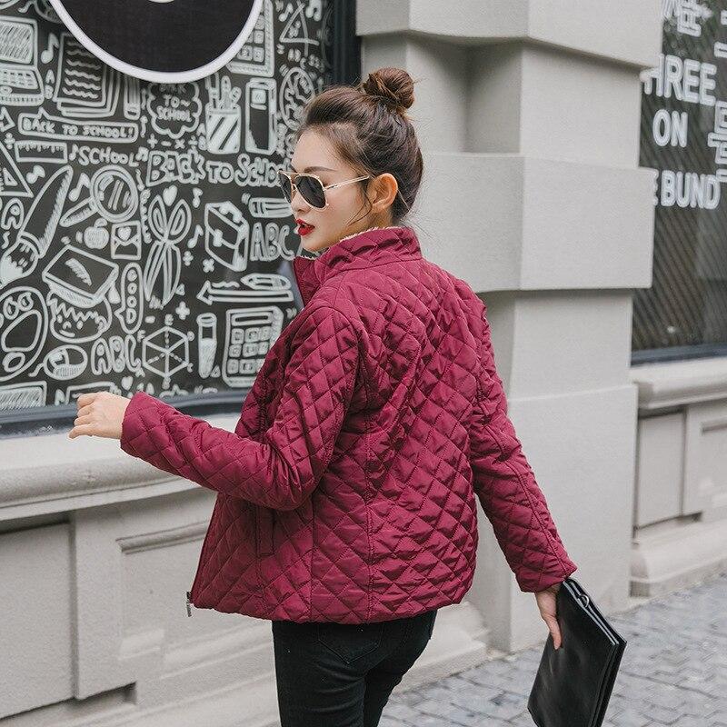 Spring 2019 New   Parkas   Basic Jackets Female Women Winter Plus Velvet Coats Cotton Winter Jacket Womens Outwear Coat Solid Color