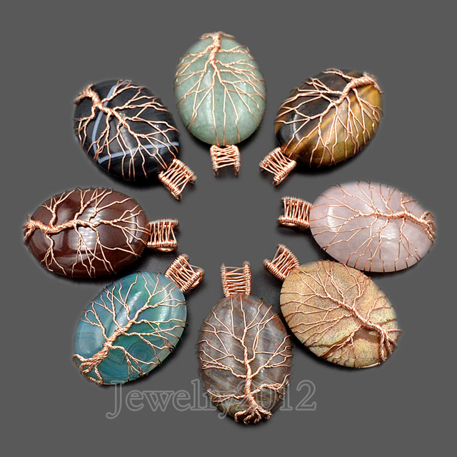 5PCSLot Natural New Gem stones Tree Life Rose Gold Wire Wrapped