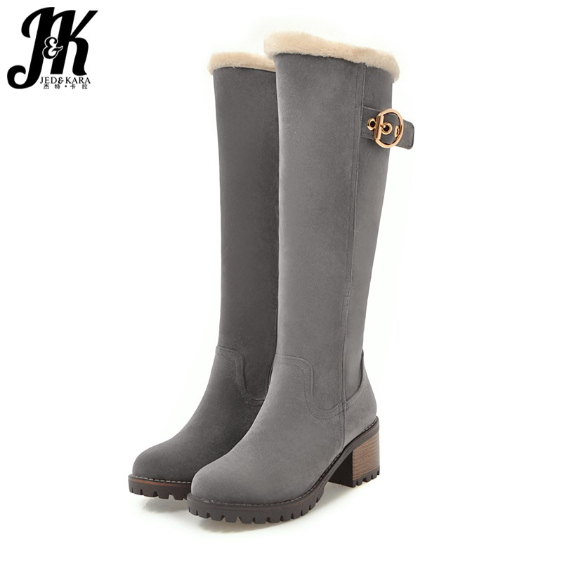 JK Thick Wood High Heels Snow Women Boots Round Toe Zip Footwear Warm Female Boots Platform Plush Shoes Woman 2018 Winter NewJK Thick Wood High Heels Snow Women Boots Round Toe Zip Footwear Warm Female Boots Platform Plush Shoes Woman 2018 Winter New