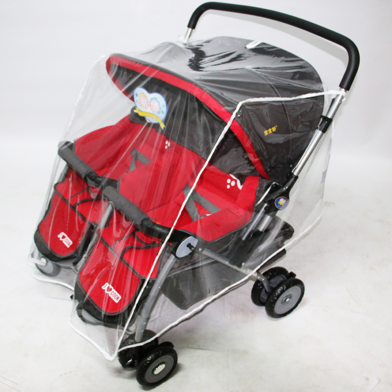 Universal Baby Twins Stroller Rain Cover Windshield Double Stroller Cover Rain Cover For Rain Stroller Waterproof Dust Cover