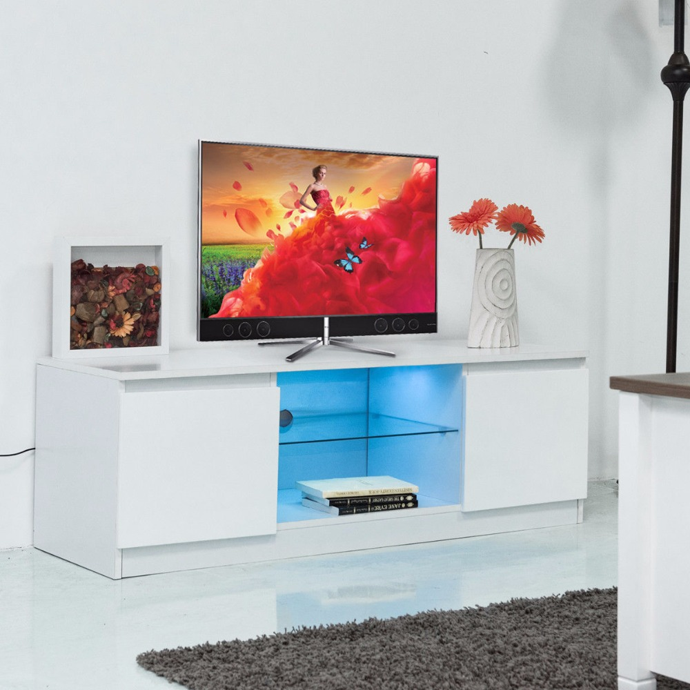 Giantex Led TV Stand Unit Cabinet Media Console Furniture Modern Living Room Wood TV Stand with Shelf Cabinet HW56644WH купить в Москве 2019