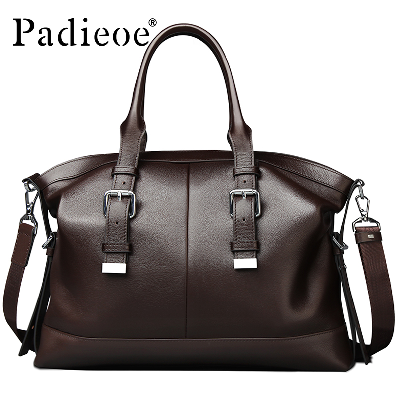 Padieoe Newest Design Vintage style Mens Briefcase Messenger Bag Genuine leather Business Shoulder Bag Office Bags Male Handbags