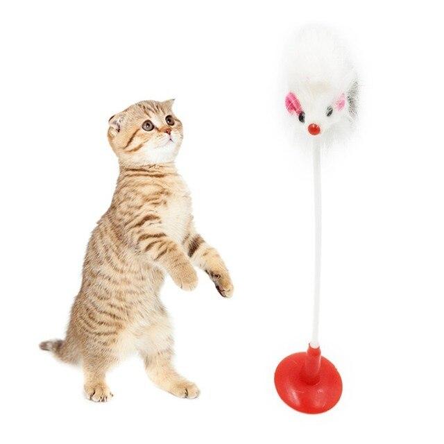 1 pz Divertente Pet Giocattoli Del Gatto Piuma False Mouse Barile Ventosa Vertic
