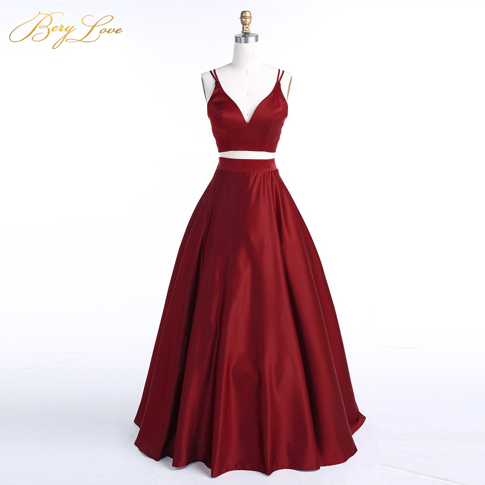 BeryLove Burgundy Two Piece Evening Dress 2019 Long Dress Satin Evening Gowns Simple 2 Piece Prom Vestidos Dress Real Photos