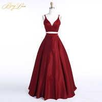 BeryLove Burgundy Two Piece Evening Dress 2019 Long Dress Satin Evening Gowns Simple 2 Piece Prom vestidos Dress Real Photos