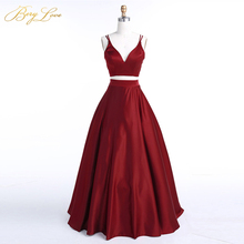 BeryLove Burgundy Two Piece Evening Dress 2019 Long Satin Gowns Simple 2 Prom vestidos Real Photos