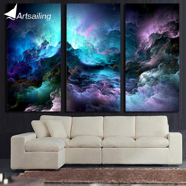 artsailing 3 piece canvas art abstract purple cloud psychedelic