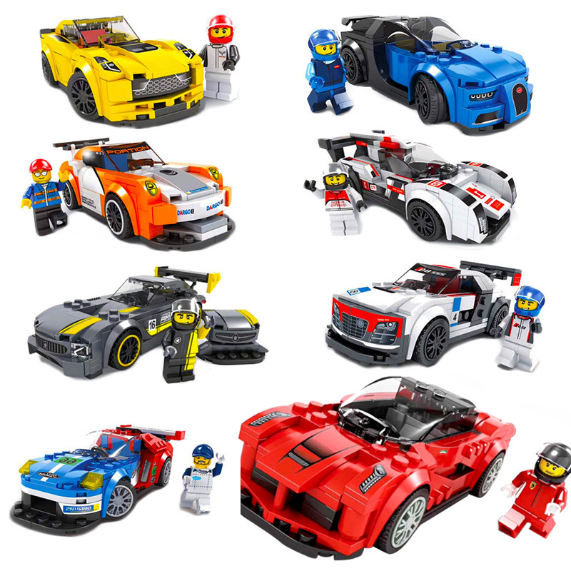 8 styles racing car series Classic Car Building Blocks set DIY Educational Bricks Toys for Children Great gift full set 3 styles transformation robot series mini bricks toys diy diamond model nano building blocks hot selling children gifts