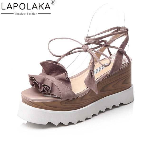 LAPOLAKA New women s Kid Suede Solid Wedges Ankle Strap Platform Shoes Woman  Casual Comfortable Summer Sandals Big Size 33-42 6b746aff78