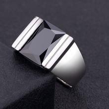 Мужское кольцо из обсидиана серебро 925 пробы регулируемый размер