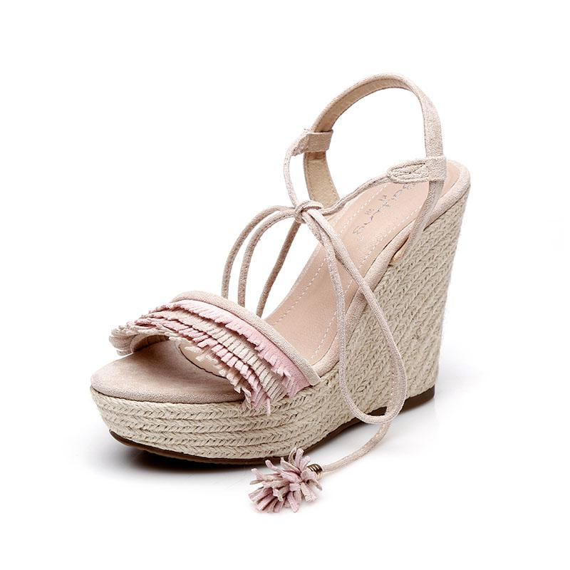 Wedges Shoes For Women Sandals High Heels Summer Shoes 2019 Platform Sandals Ruffles Straw Heel-in High Heels from Shoes    1