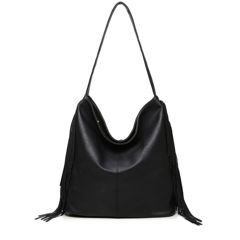 Big Bag Casual Hobos Women Tassel Handbag PU Leather Female Shoulder Bags Large Capacity Tote Bag For Ladies Bolsas Femininas