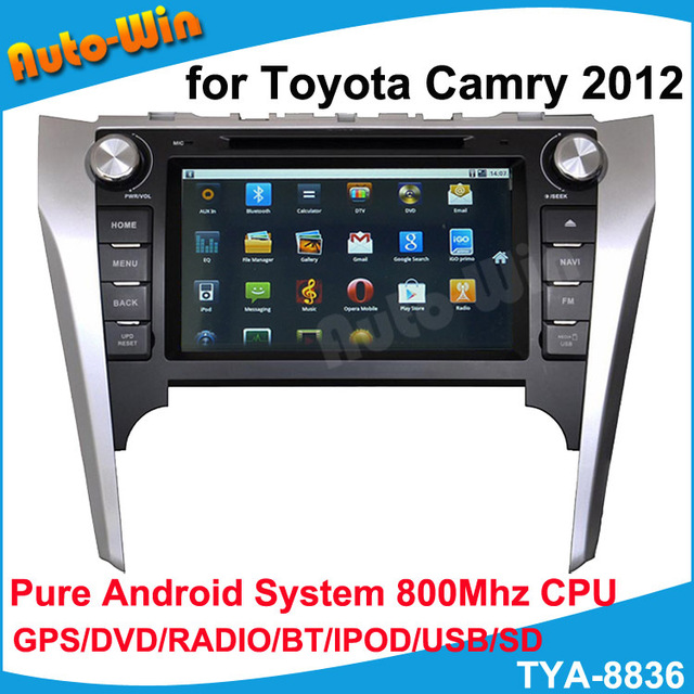 DVD Player for Toyota Camry 2012 with Pure Android wifi 3G DVD GPS RADIO BT IPOD OBD(opt) free shipping