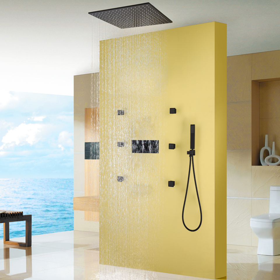 Bathroom Shower Sets C C Bathroom Rainfall Shower Faucet Set Hot And Cold Mixer Tap With Hand Sprayer Blacken Shower Panel Bath Shower Sets