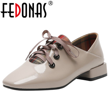 FEDONAS Fashion New Square Toe Spring Summer Genuine Leather High Heels Pumps 2019 Corss-tied Night Club Party Shoes Woman
