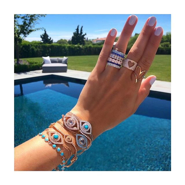 2019 New Fashion 8 color rainbow green Blue Evil Eye Bracelet Charm Trendy 925 Sterling silver For Women Exquisite Party Jewelry