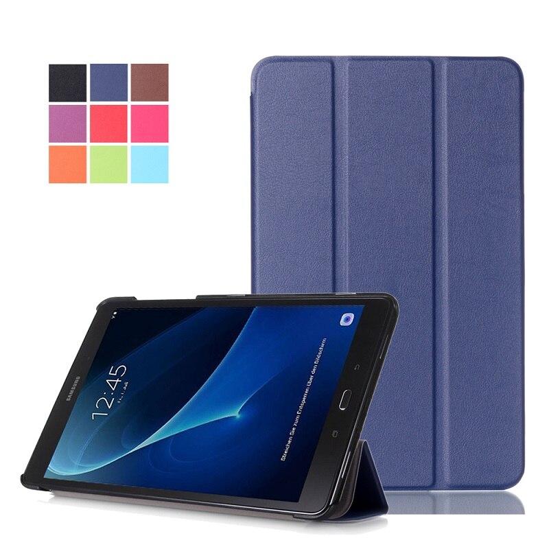 Slim Magnétique Pliant Flip PU Cas de Couverture pour Samsung Galaxy Tab Un 10.1 2016 T580 T585 T580N T585N Peau Cas + Film + Stylo