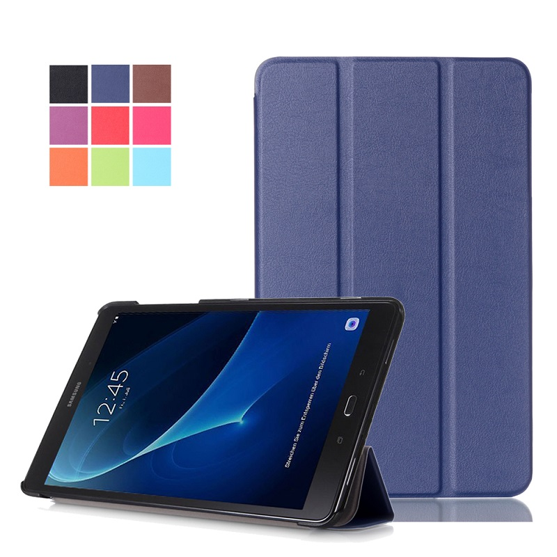 Slim Magnetic Folding Flip PU Case Cover for Samsung Galaxy Tab A 10.1 2016 T580 T585 T580N T585N Skin Case + Film + Pen