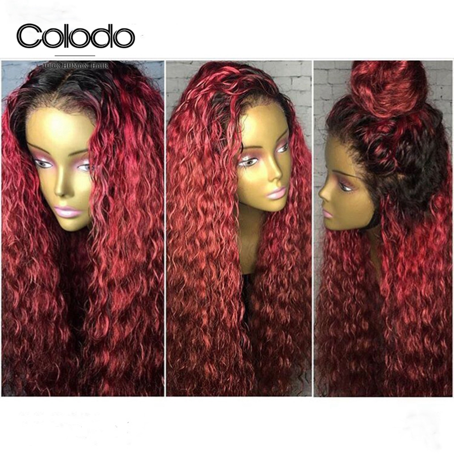 COLODO 180density 99J Ombre Pre Plucked Lace Front Human Hair Wig with Baby Hair Water Wave