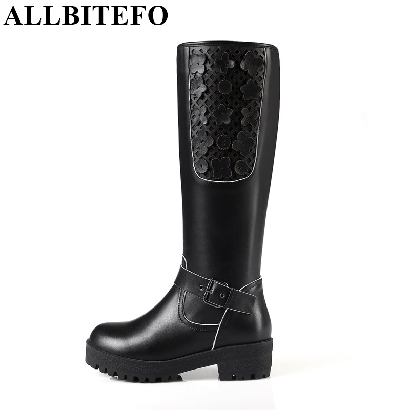 ФОТО ALLBITEFO Fashion brand genuine leather+PU buckle design women knee high boots flat platform round toe Motorcycle women boots