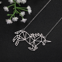 цена на Skyrim Noble Unicorn Animal Pendant Necklace Hollow Stainless Steel Statement Chain Necklaces Jewelry Gift for Women Men Kids