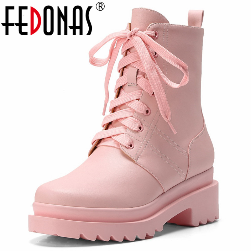 FEDONAS Newest Women Cow Leather Ankle Boots Lace Up Autumn Winter High Heels Martin Shoes Woman Platforms Cute Motorcycle Boots