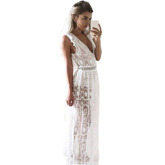 bc78e5f8d0be Elegante Sexy Scollo A V Bianco Lungo Maxi Donne Del Vestito di Pizzo  Vestiti Da Partito di