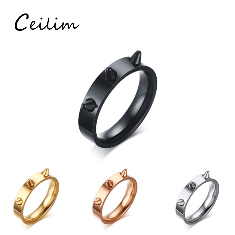 Wide 4.5mm 316L Stainless Steel Rings For Women Punk Rivet Cone Coyotes Rings Never Fade Jewelry Party Gift 4 Colors Size 6/7/8